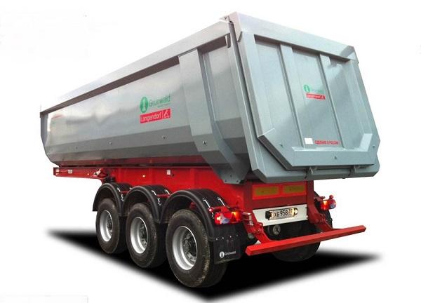 полуприцеп Грюнвальд со стальным кузовом для перевозки щебня, угля, горных пород и пр.